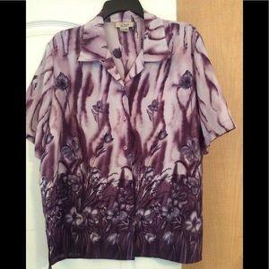 Voir-Purple/Multi floral women top plus 16W(2/$18)